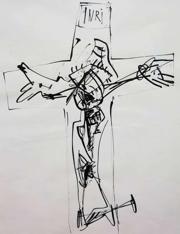 'Crucifixión', dibujo de Antonio Suárez, un detalle de la exposición en la galería Ármaga.