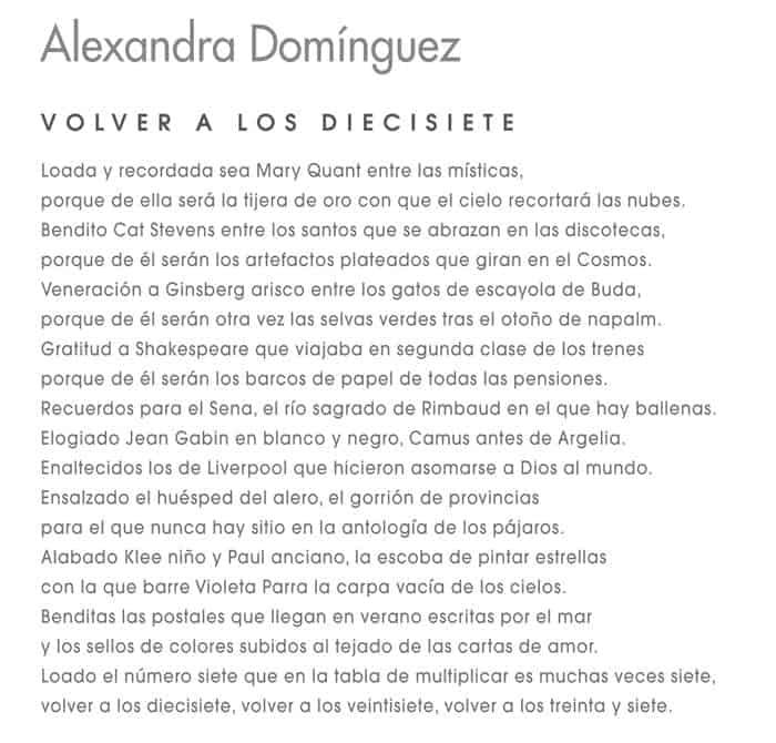 Poema de Alexandra Domínguez que acompaña la exposición de obra plástica.