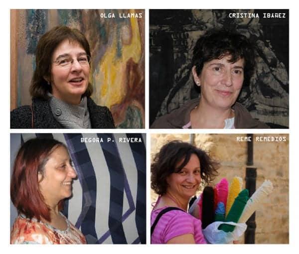 """Las cuatro artistas """"en tierra de nadie"""". Olga Llamas, Cristina Ibáñez, Begoña Pérez Rivera y Reme Remedios."""