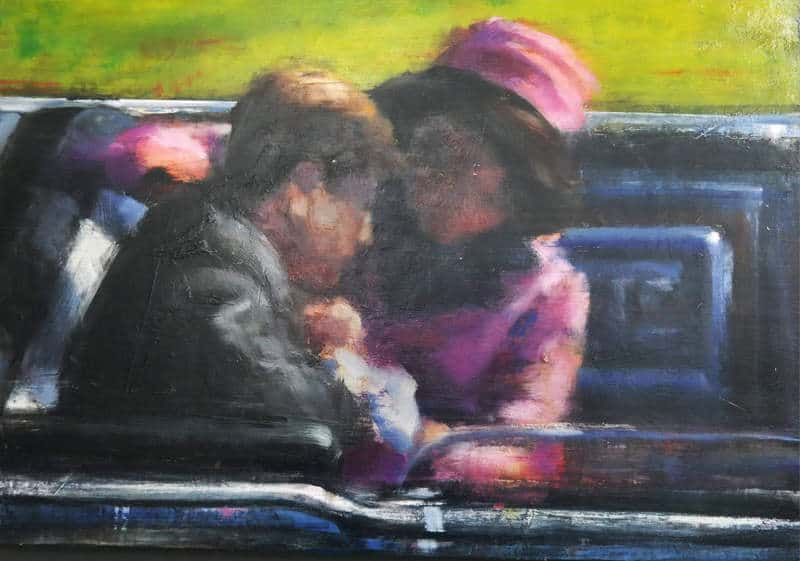 Una de las obras de Mark Howie que puede verse en la muestra, en la que refleja el asesinato de Kennedy.