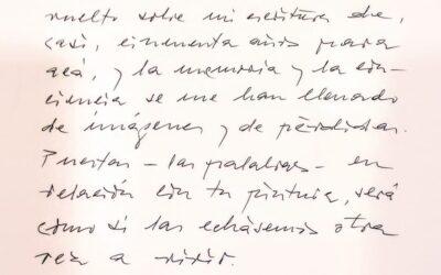 Carta de Antonio Gamoneda en un catálogo del pintor Elías García Benavides